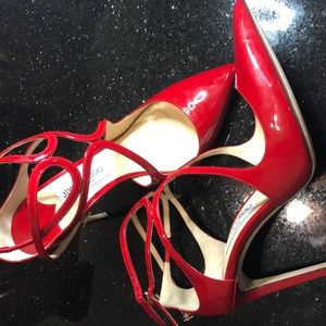 Jimmy Choo Lancer 100 Red Patent Leather Pumps
